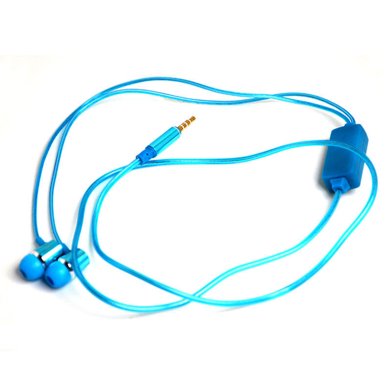 led glowing earphone fluorescent fashion led earphone with mic