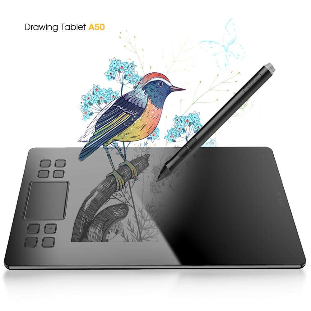 Drawing Tablet Veikk A50 Digital Pen Tablet with 8192 Levels Passive Pen Compatible with Win and Mac System