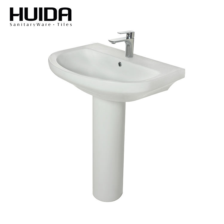 HUIDA cheap vanity Ceramic pedestal basin artistic bathroom washbasin sinks for sale from China supplier