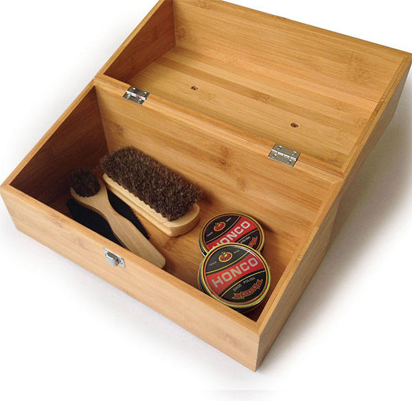 Bamboo Hand-Crafted Shoe Shine Kit Shoe Polish Storage Box