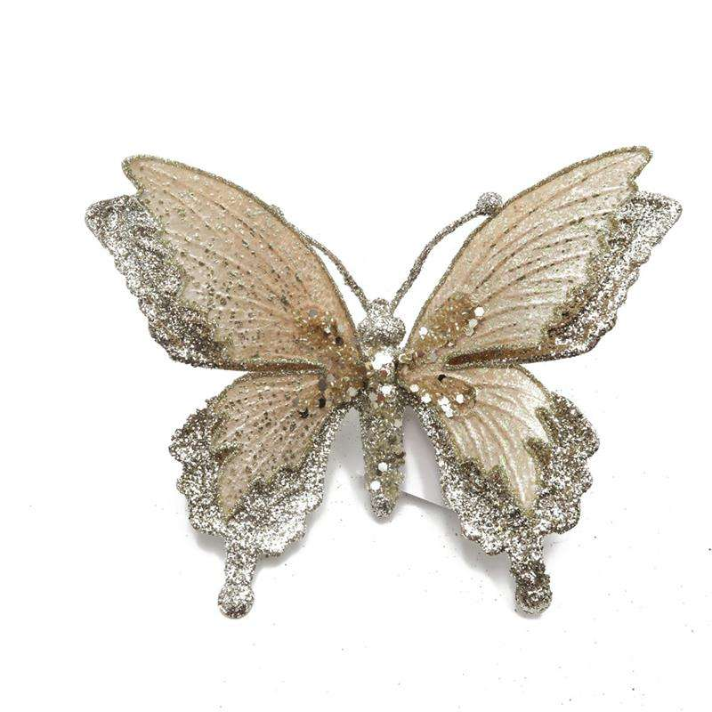 Champagne Christmas glitter butterfly with clip for Christmas tree decoration