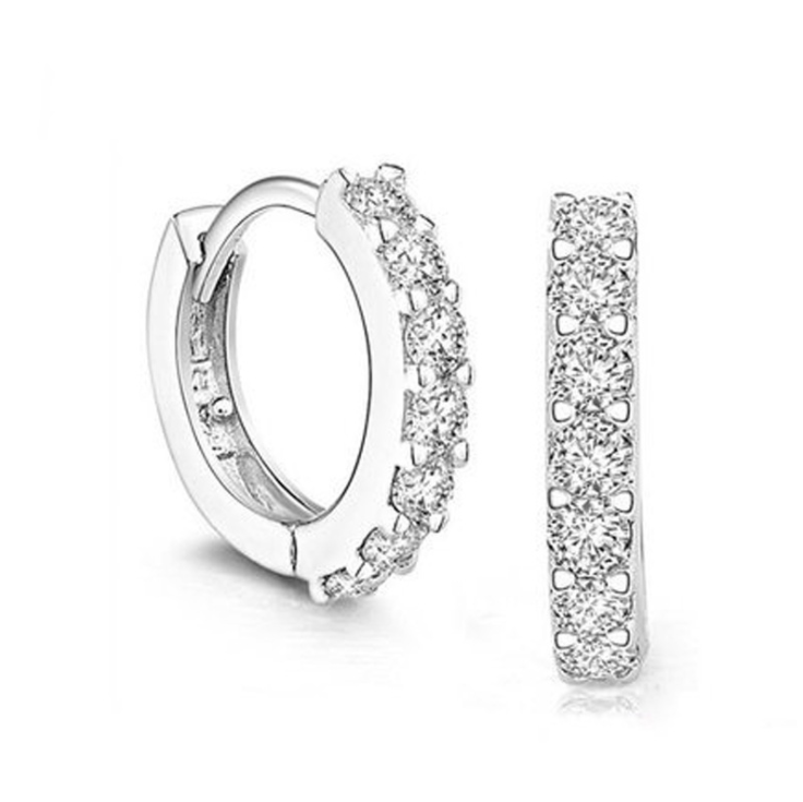 Solid 925 Sterling Silver White Paved Crystal Hoop Earrings For Women Jewelry