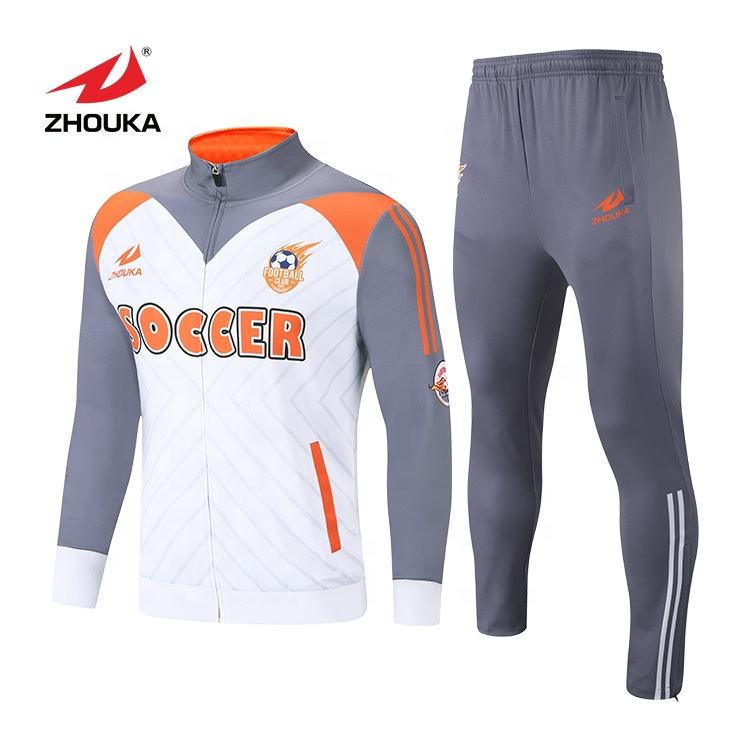 Wholesale White and orange customization zip up tracksuit oem custom tracksuit for soccer club