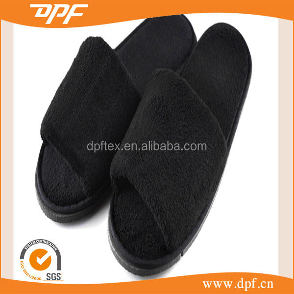 China supplier custom Hotel disposable amenity white/black terry cotton slipper