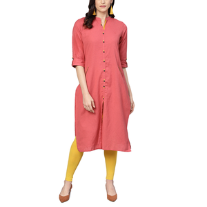 Mandarin Collar Women Pink Solid Straight Hem Kurta