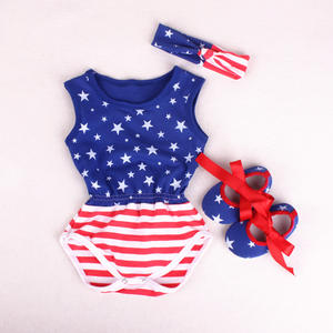 new 2018 baby Jumpsuit printed sleeveless kids jumpsuit slittle shoes headwear clothes Baby Rompers three piece sets
