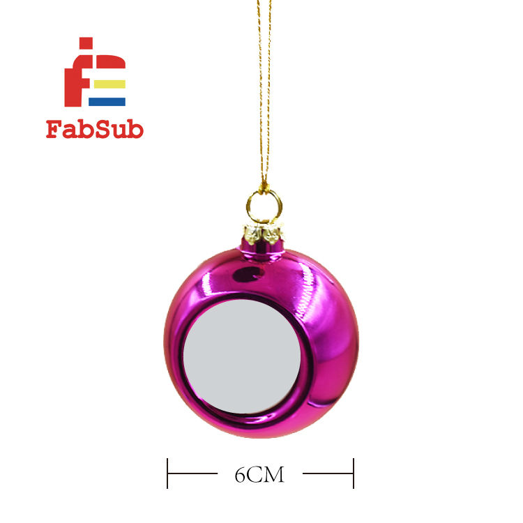 Wholesale 6cm sublimation xmas decorating balls Blank Printable plastic christmas tree ornament