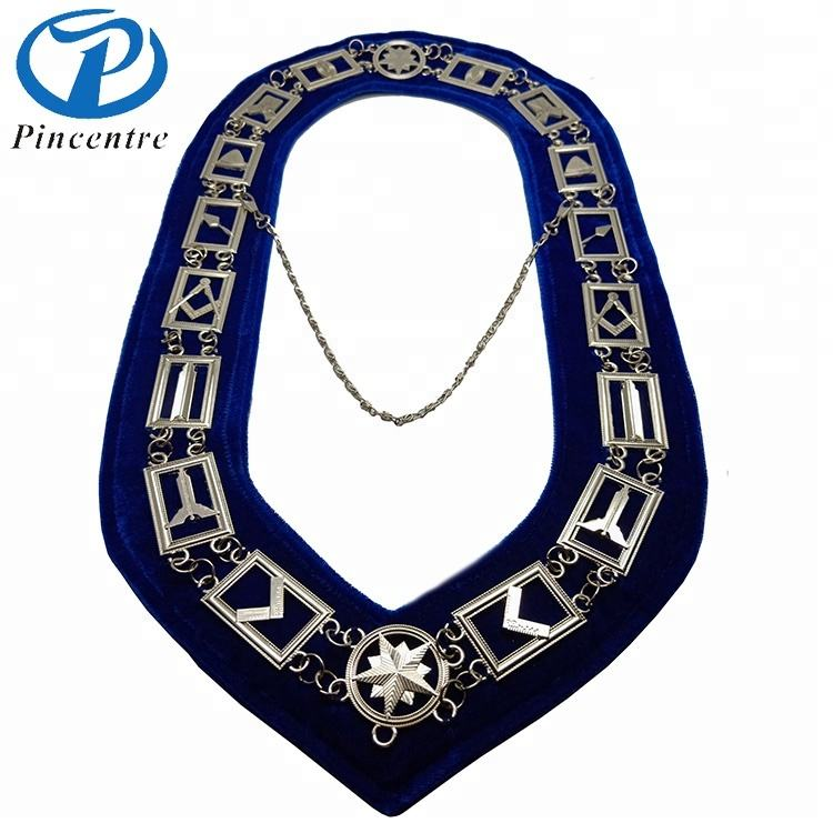 Past Master Masonic Collar DELUXE RHINESTONE BLUE Backing GOLD JEWEL Package