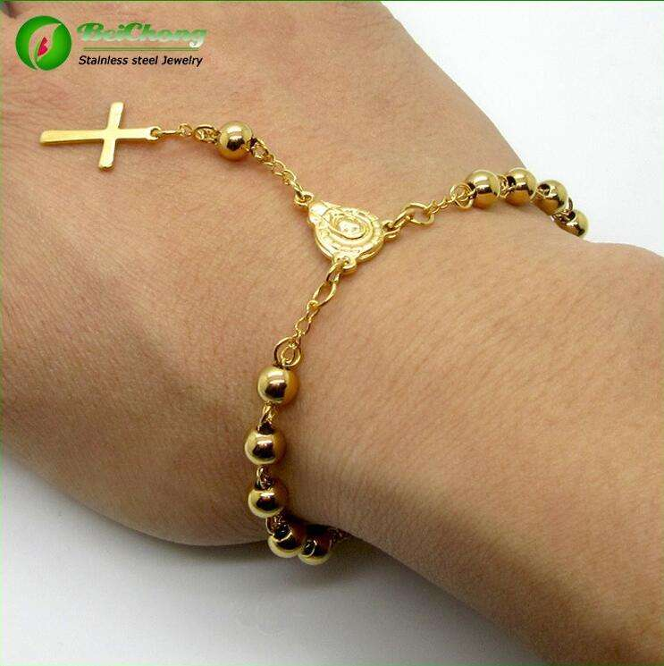 Precious metal stainless steel cheap rosary bracelet gold
