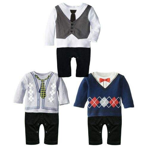 Wholesale Gentleman Latest Design Plain Baby Romper Cotton Infant Rompers for Boys Baby Clothes Infant Clothing