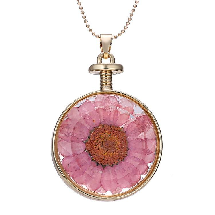 Romantic Double Face Round Glass Charms Pendant Necklace Real Dried Pressed Flower Necklace