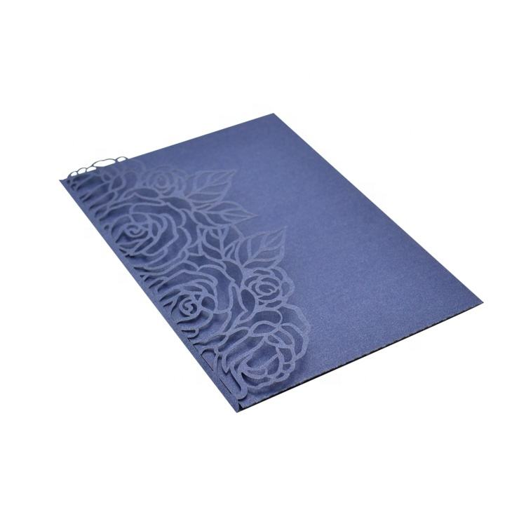 Elegant pocket fold laser cut wedding invitations navy blue