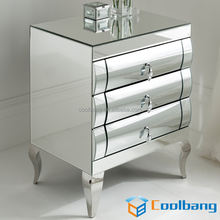 modern curved mirrored drawers narrow small mirror bedside table for sale