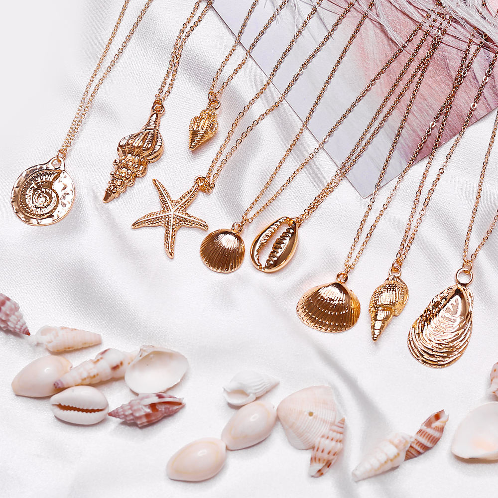 9 Design Fashion Shell Starfish Pendant Necklaces For Women Girls Gifts Gold Color Choker Bohemian Necklace Jewelry N95234