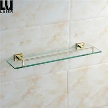Chinese Brass hanging home toilet shower decorative shelves unit bathroom modern corner Gold glass shelf