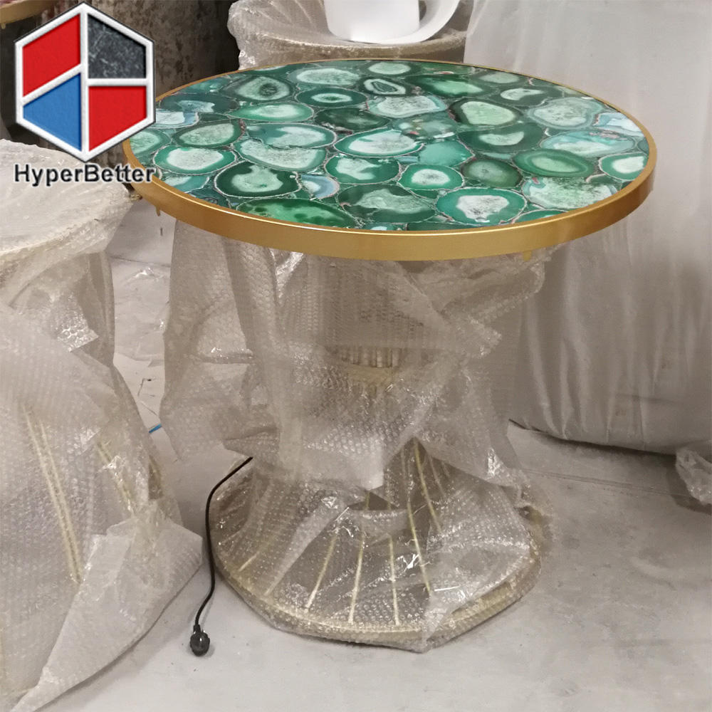 Green agate coffee table diameter 60cm
