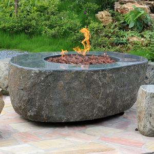 Elementi propane natural stone bowl garden fire pit outdoor with lava rock