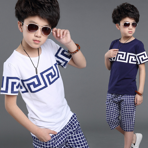 Wholesale children clothes short sleeve korean style pure cotton fancy boys shirt