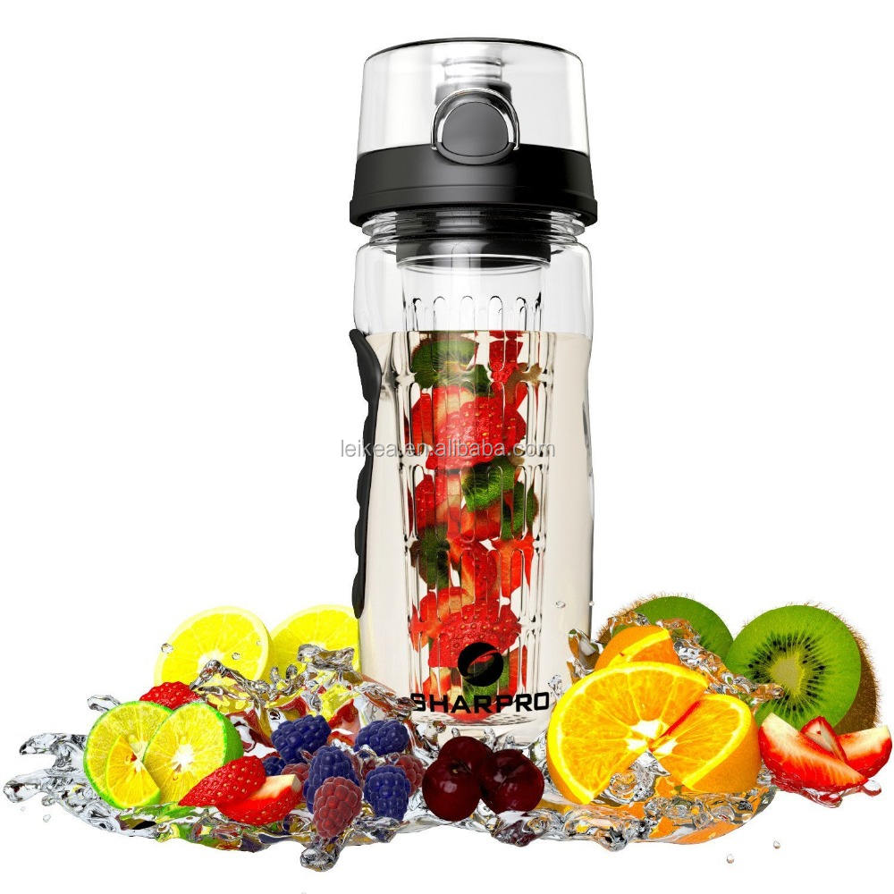 Large 32oz Fruit Infuser Water Bottle BPA Free With Flip Top Lid