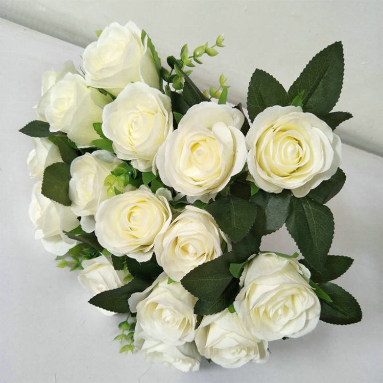 IFG wholesale artificial 18 heads rose bouquet wedding decoration