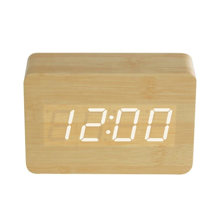Home decorative digital wooden led alarm clock, desktop alarm clock with LED display