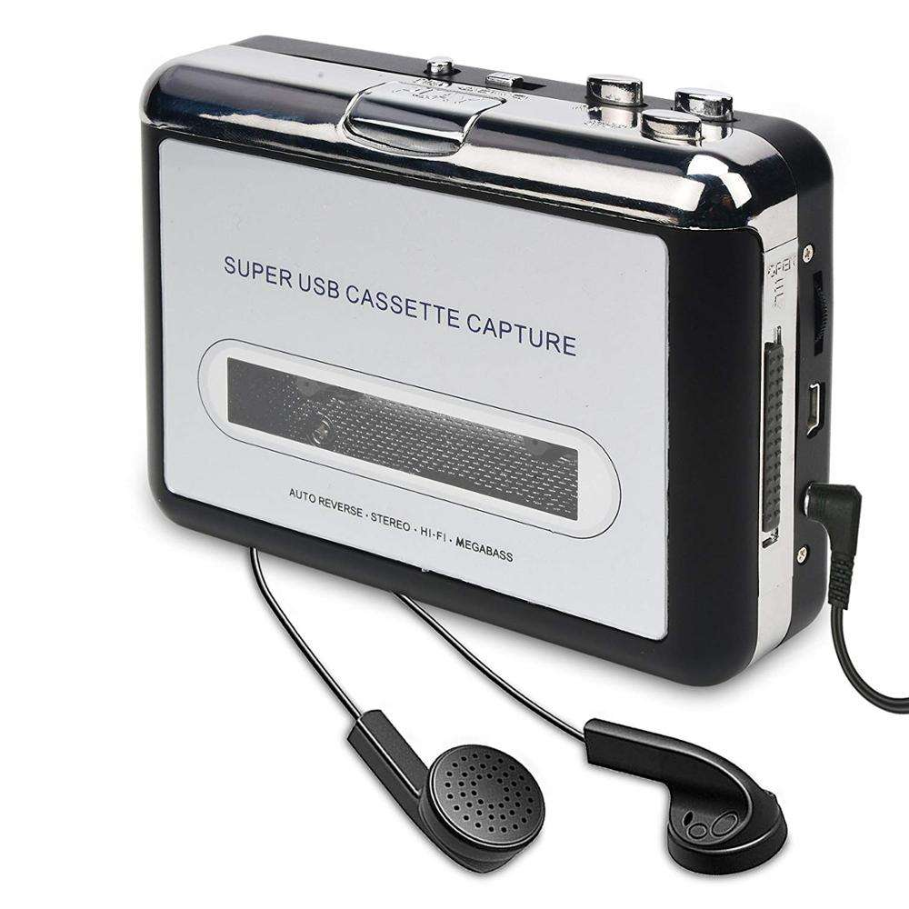 Factory Cassette Player-Cassette Tape To MP3 CD Converter Via USB,Portable Cassette Tape Converter Captures MP3 Audio Music