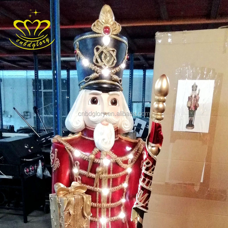 Christmas Decor Fiberglass Product LED Light Nutcracker Soldier Statue