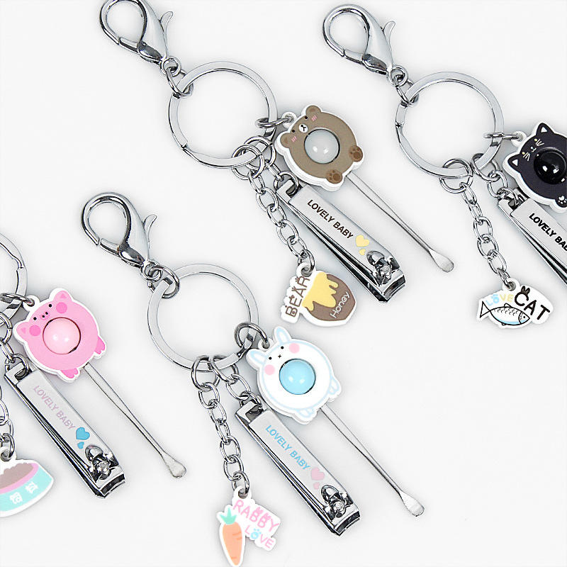 New Animal Letter Multifunctional Nail Cutter Ear Scoop Keychain