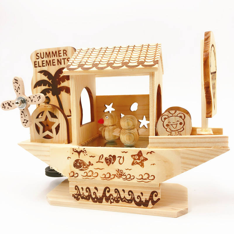JD New style boat shape mechanism wooden craft music box with Revolving dancing bird
