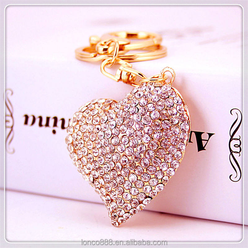 KC191 Shiny colorful rhinestone leather keychain heart pendant charm key ring
