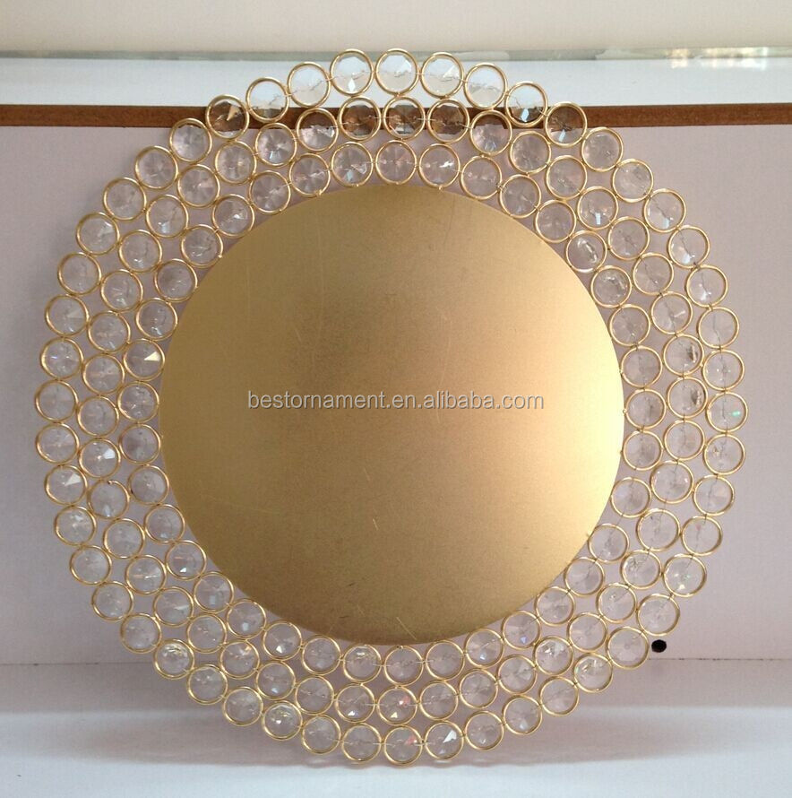 Gold Charger Plates with Crystal Beads