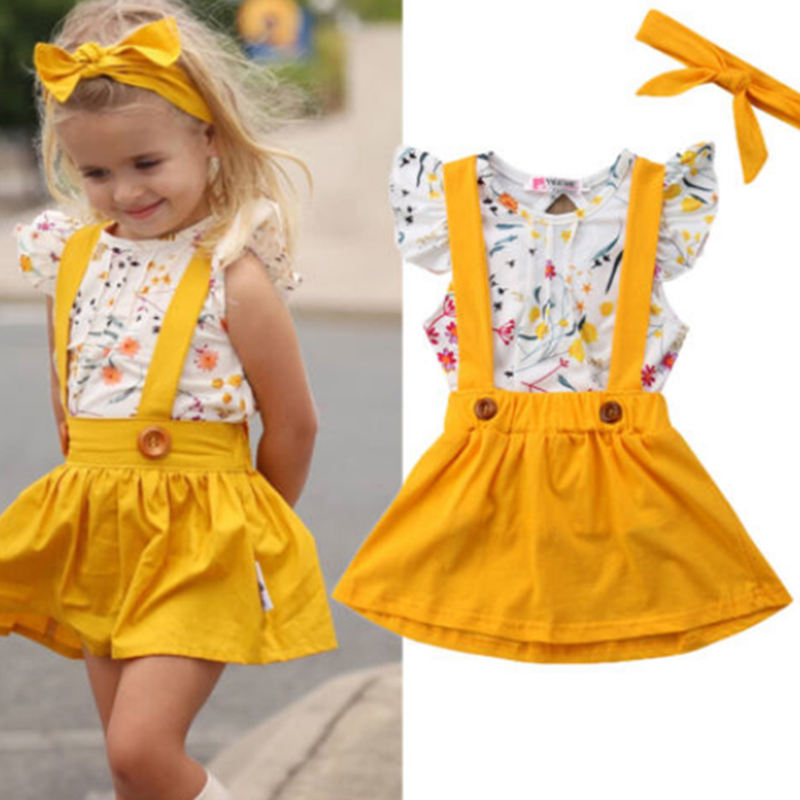 2019Popular Sale Baby Girls Clothing Sets with Short-Sleeved Shirt yellow +Strap Dress +Hair Bind 3Pieces for Summer
