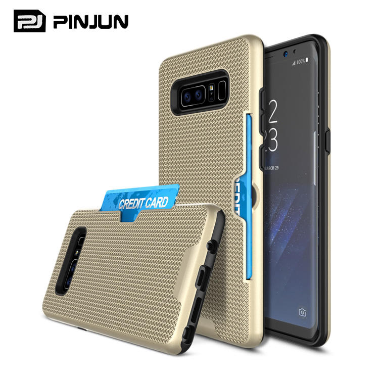 Hybrid combo grid heat dissipation mobile phone cover for samsung note 8 case wallet card slot style