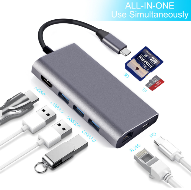 New products 8 in 1 3.1 USB C type C hubs to HDMI 3*USB 3.0 RJ45 Gigabit Ethernet SD/TF card reader