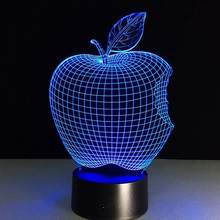 High Quality 3d Illusion Table Lamp home lighting colorful apple Acrylic creative 3d led sensor night light lamp