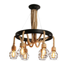 Antique E27 Hemp Rope Industrial  Modern Pendant lighting Decoration Chandeliers Lamp Ceiling Light