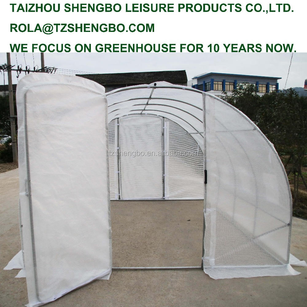 eco friendly diy home use white poly tunnel greenhouse with double door