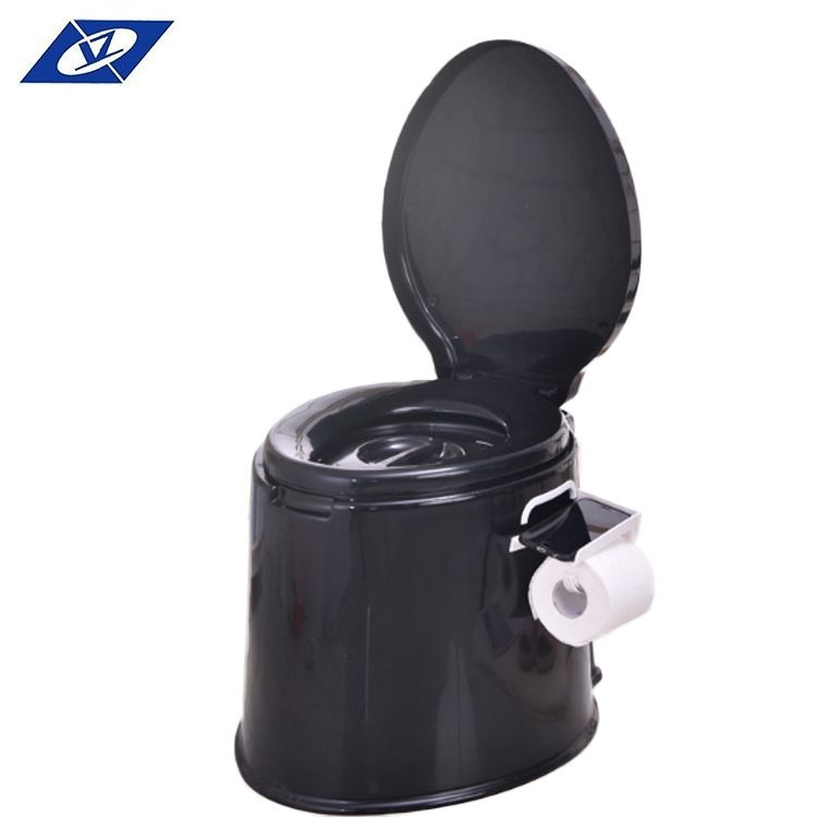Free sample china manufacture camping portable plastic black toilet