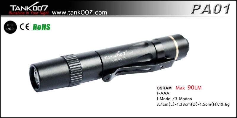 TANK007 PA01 penlight/caplamp