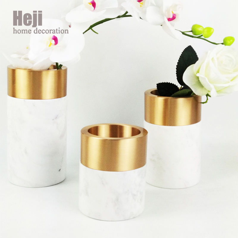 Vintage Artistic Marble Tall Decorative Flowers Vases For Wedding Centerpieces