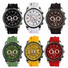 Textured Silicone Wristband Japan Movement Mens Geneva Quartz Watches