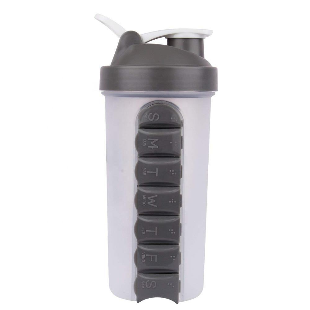 7 Days Daily Shaker Bottle with Pill Box And Mix Function for Sale