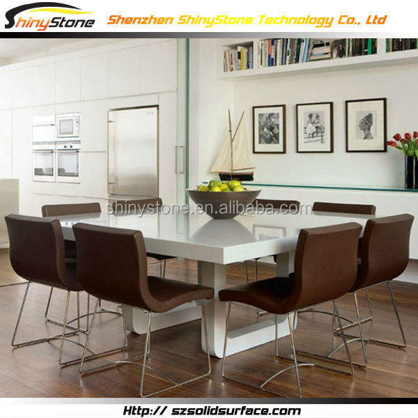 High-end HI-MAC design Modern look Acrylic Solid Surface contemporary marble dining table set