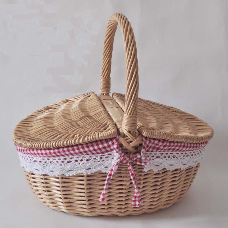 Folk Art Chinese Hand Woven Willow Wicker Picnic Basket For Outdoor Wicker Storage Basket