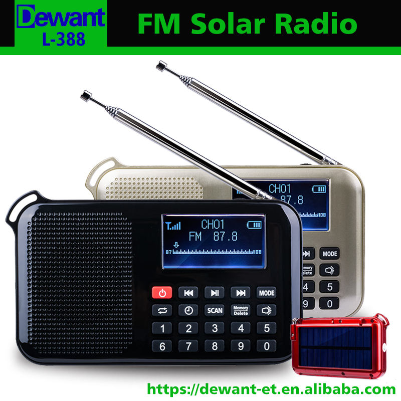 L-388 FM radio mp3 player solar powered mp3 player with lcd screen