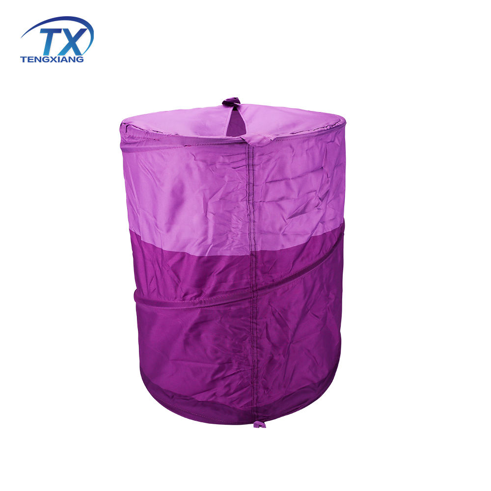 Hotel Polyester Waterproof Fabric Customized Solid Purple Dirty Clothes Storage Laundry Basket