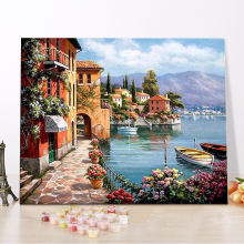 CHENISTORY DZ1018 Painting By Numbers Diy Charming Harbor framed oil paintings