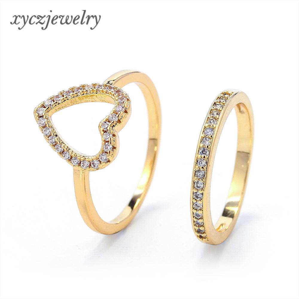 Design for couples wedding shining jewelry heart-shaped gold plated ring