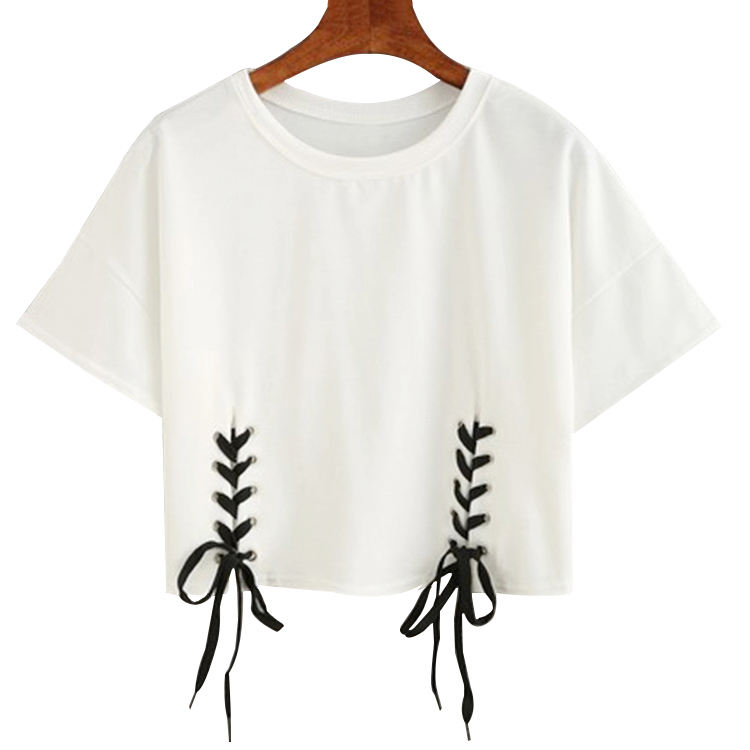 Drop shoulder sleeve White Round Neck T Shirt Woman Crop Top Screen Print