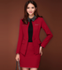 women red skirt business suits 100% wool suits